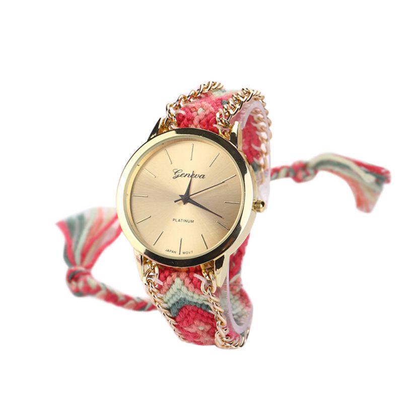 Fashion Women Classic National Braid Bracelet Round Dial Wrist Analog Quartz Chain Watch Gift New 2018