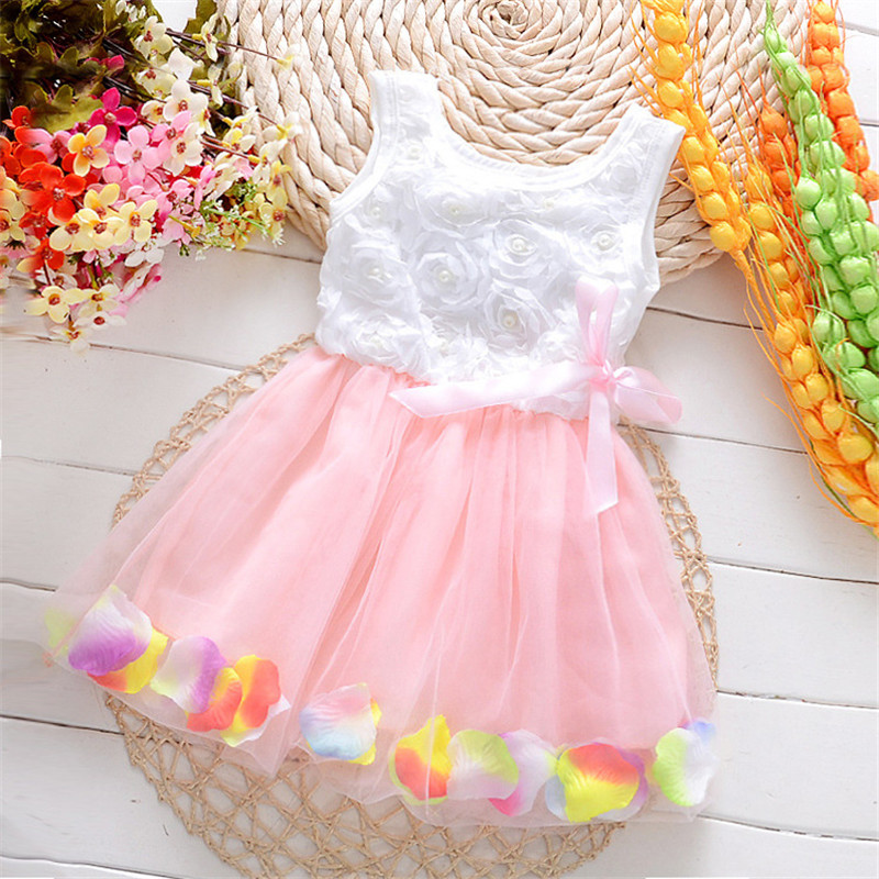 2016 Summer New Ball Gown Dresses Solid Color Petal Beautiful Girls ...