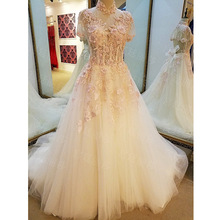 Real Photo A-Line High Neck Lace Up Court Train Appliques Pearls Sequins Wedding Dress 2017 With Beaded Mariage Wedding Gowns