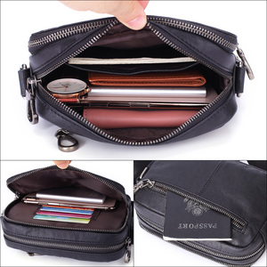 Image 5 - Flanker Mens Messenger BAG Multi function leather zipper Messenger Phone shoulder Bag business waterproof casual handbag