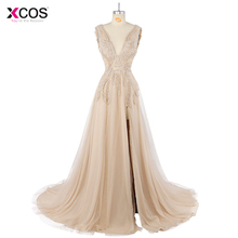 Deep V Neck Long Prom Dresses 2017 Modest Robe De Soiree A Line Beaded Tulle Formal Evening Gowns Party Dress