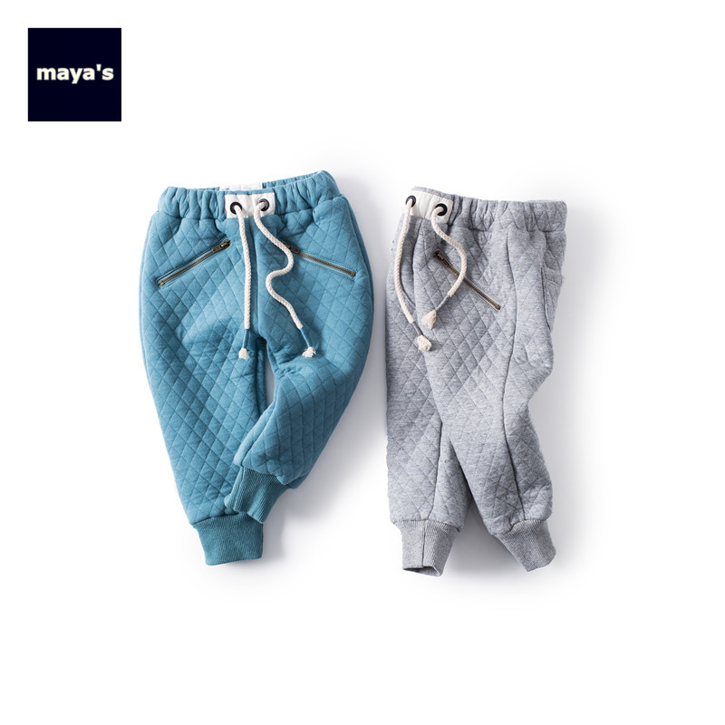 Mayas Cotton Fashion Fake Zipper Winter Boys Pants Kids Straight Pants Autumn Warm Solid Color New Thickening Girls Pants 81247 simple style zipper fly button embellished solid color slimming straight leg cotton blend pants for men