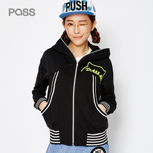 PASS 2017 New Arrival Women Spring Jacket Casual Stripe Letter Embroidery Net Patchwork Hat Coat Female Loose Jacket