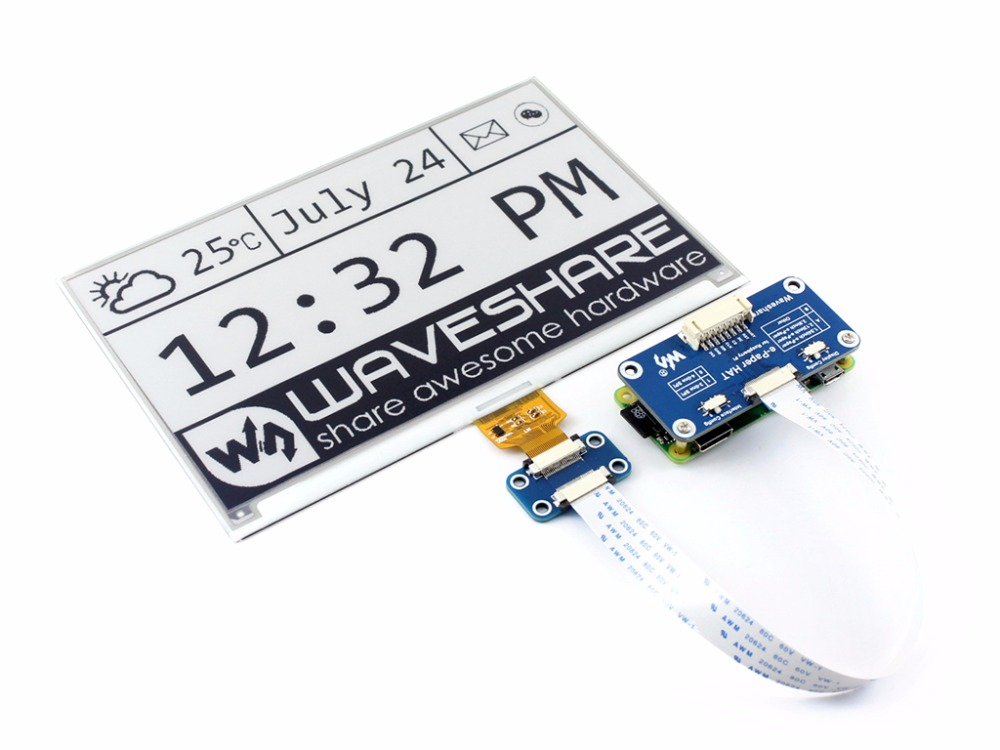 цена Parts 640x384, 7.5inch E-Ink display HAT for Raspberry Pi Black White Two-color Display SPI No Backlight Ultra low consumption