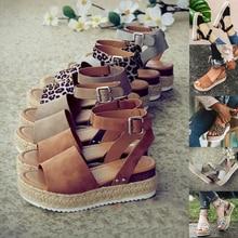 플러스 사이즈 2019 웨지 여성 샌들 여름 웨지 힐 신발 플랫 플랫 슈즈 여성 캐주얼 샌들 Zapatos De Mujer