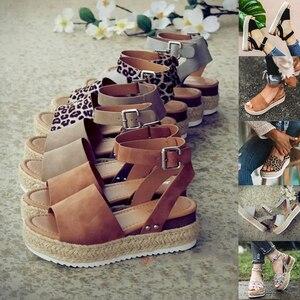 Image 1 - Plus Größe 2019 Keile Frauen Sandalen Sommer Keil Heels Schuhe Plattform Wohnungen Schuhe frauen Casual Sandalen Zapatos De Mujer