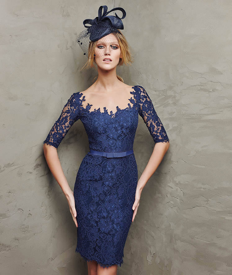 3c5bd55ceba9 Marvelous Short Fitted Sheath Sheer Scoop Neck Half Sleeves Navy Blue Lace  Cocktail Party Dresses