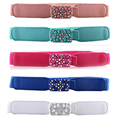 Women Shining Rhinestones Buckle Skinny Belt Diamantes Elastic Waist Band BLTYN0020