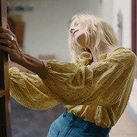 Oversize свободные для женщин рубашка блузка шифон рукав