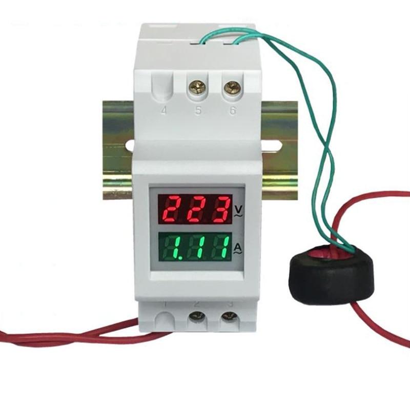 High quality NEW 2P 36mm Din Rail Dual LED Voltage Current Meter Voltmeter Ammeter AC 80-300V 250-450V 0-100A free shiping din rail dual digital display range ac 80 300v 0 100a voltage and current meter din rail voltmeter ammeter