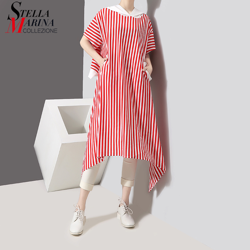 New 2018 Korean Style Women Summer Red Color Striped Long Hooded Tee Top Girls Special Casual Wear Very Long T Shirt Style 3523