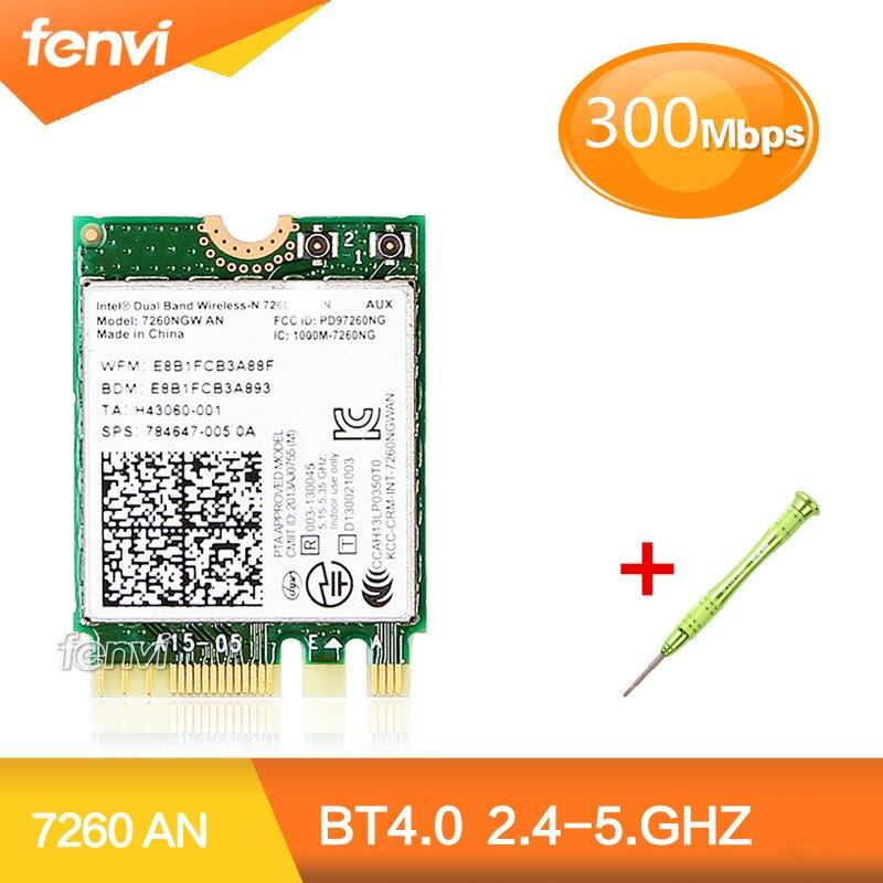 Double Bande Sans Fil-N Pour Intel 7260NGW UN 7260 NGFF Wifi Bluetooth 4.0 Mini Carte Wlan Soutien HP/Asus/Acer/Dell/Toshiba Ordinateur Portable