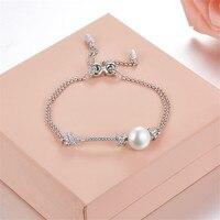 Fashion Monaco Brand Knot Pearl bracelet Luxury solid 925 sterling silver hand chain mirco zircons adjustable macram bracelet