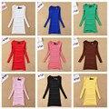 O Envio gratuito de Nova Chegada das Mulheres T-shirt Roupas de Outono/Inverno Moda 17 tipos Cor Pure O-pescoço Magro Quadril Camisa Básica longo