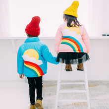 2017 new girls and boys rainbow Down Cotton 2-7Y Kids Clothes filling Cotton boy Winter Outwear Boy Jacket Toddler Parkas