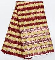 Высший сорт вино красное золото швейцарский гипюр кружева Нигерия шнур кружевной ткани с большим количеством камней бусины 5 ярдов желтый п