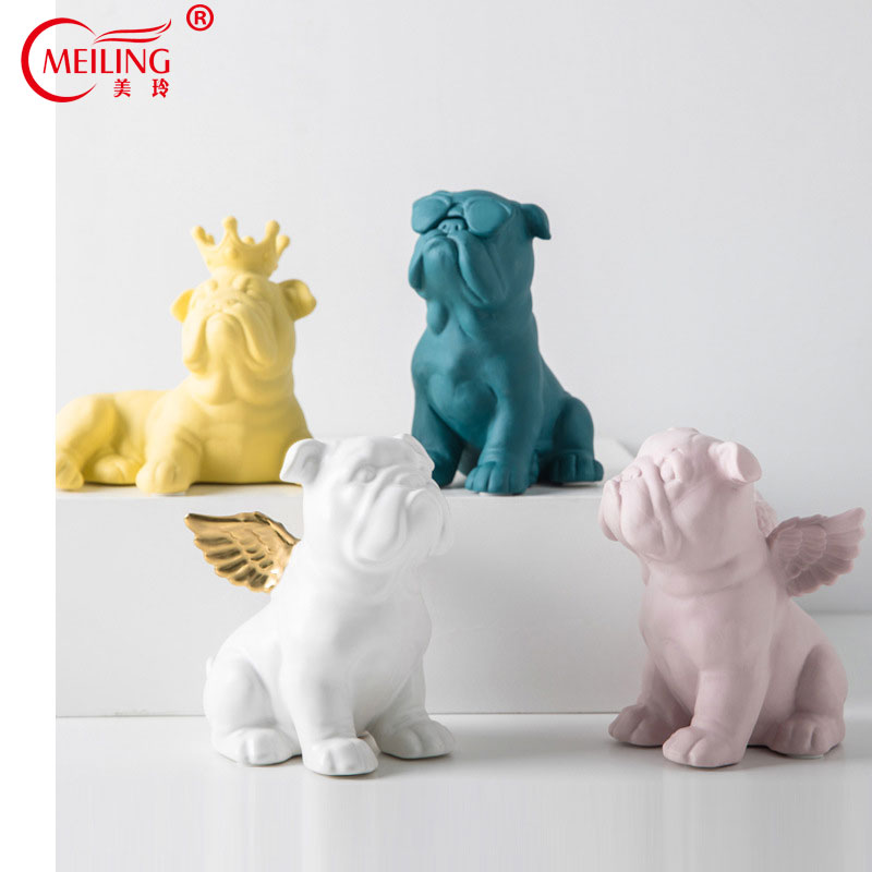 Nordic Decorative Ceramic French Bulldog Statue Handmade Collectible Ornaments For Home Office Vanity Table Animal Dog