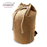 Aosbos Canvas Lanyard Bucket Backpacks Drawstring Gym Bag Yoga Sports Bag For Women Men Fitness Outdoor