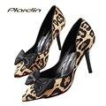 Plardin Leopard Punta estrecha Mujeres Bombas de Boda Zapatos de Novia Sexy Tacones Delgados Partido Rojo Zapatos de Las Mujeres zapatos de Tacón Alto inferiores Bombas