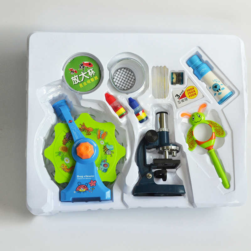 Children's microscope set kindergarten primary school science experiment  teaching aid science small production science toy