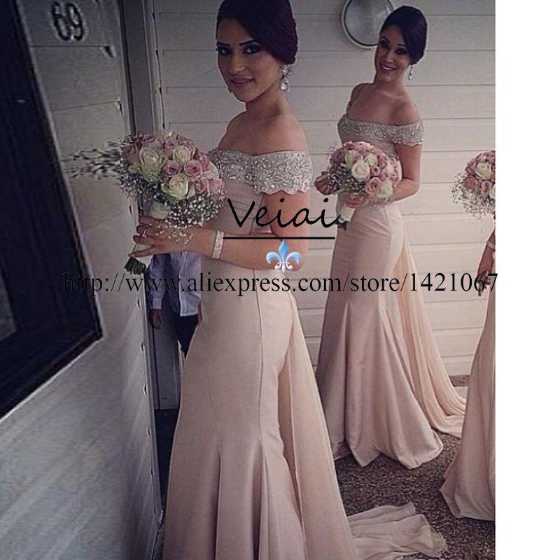 Crystal Design 2016 Wedding Dresses: 2016 New Design Off Shoulder Crystal Plus Size Bridesmaid