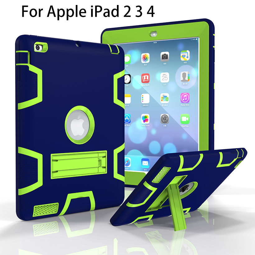 For Apple iPad2 iPad3 iPad4 Case Back Cover Tablet Silicon+PC Shockproof Hybrid Heavy Duty Rugged Combo With Kickstand Funda 3 in 1 hybrid heavy duty shockproof dual layer military armor back cover case for apple ipad mini 4 case cover tablet case gifts
