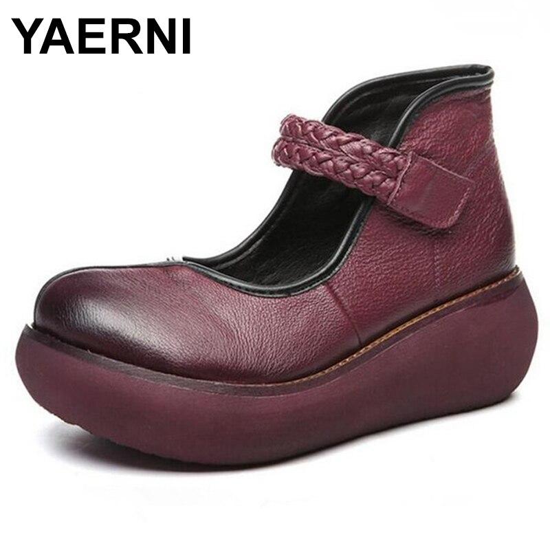 YAERNISpring new fashion casual shoes Platform slope with high heels round retro handmade genuine leather shoes