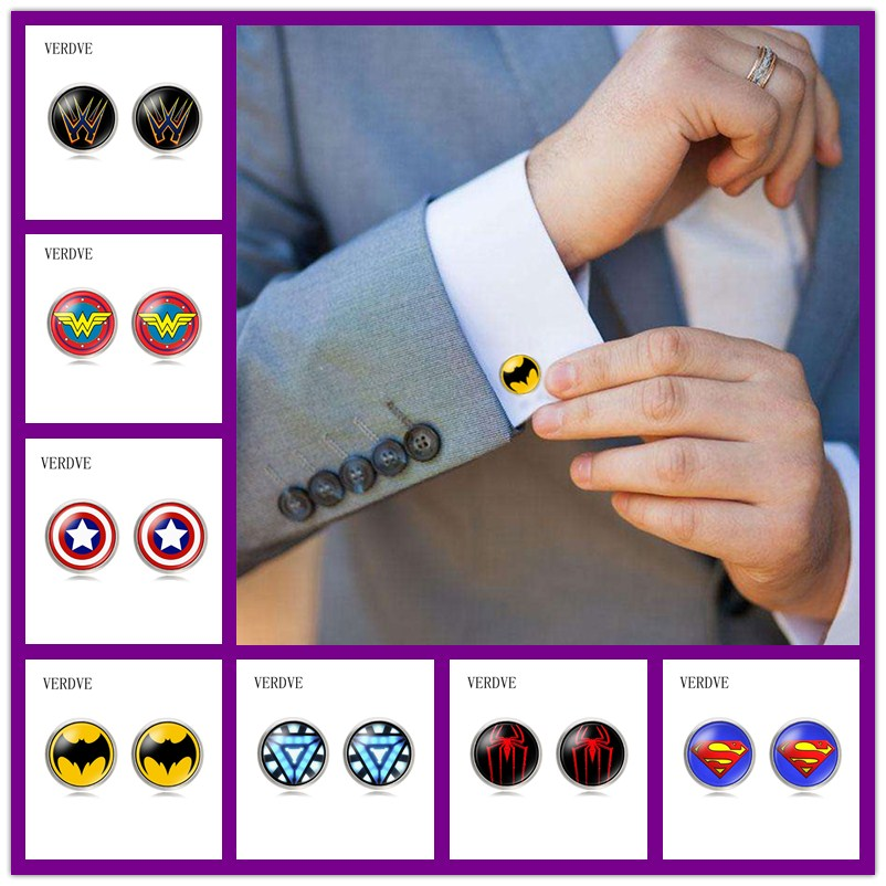 VERDVE New Super Hero Captain America Spider Man Iron Man Bat Man Glass Cabochon Cuff Links For Mens Shirt Copper Cuff-Button