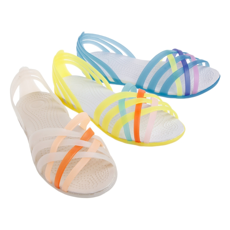 2017 Fashion Women Summer Flat Fish Mouth Sandals Anti-slip Rainbow Mixed Color Jelly Shoes Woman Girl Sandal New EVA Flat with