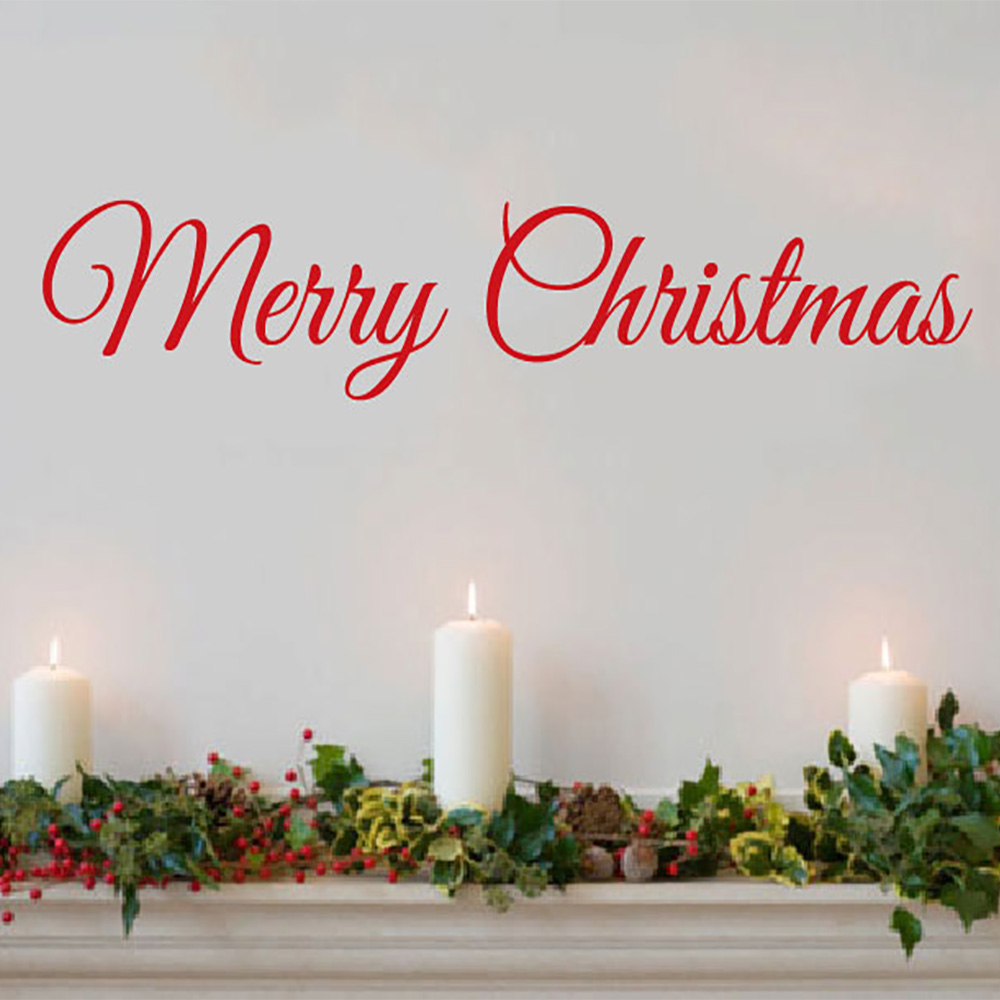 Merry Christmas Decal door Decor Wall decal Word Merry ...