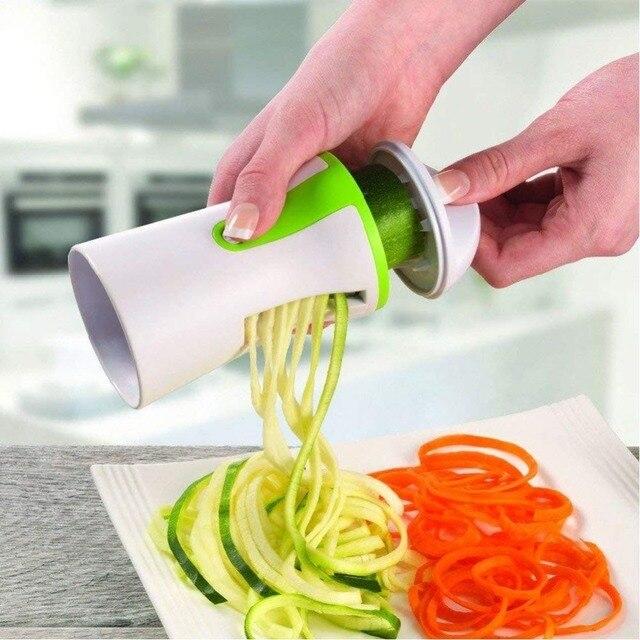Xách tay Spiralizer Rau Slicer Cầm Tay Spiralizer Peeler Thép Không Gỉ Xoắn Ốc Slicer cho Khoai Tây Bí Xanh Spaghetti