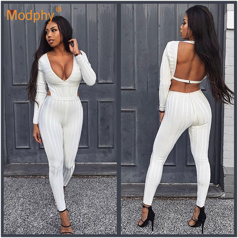 2019 spring ladies long bandage   jumpsuit   winter white sexy long-sleeved V-neck open back hollow club party club party   jumpsuit