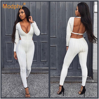 2019 spring ladies long bandage jumpsuit winter white sexy long sleeved V neck open back hollow club party club party jumpsuit