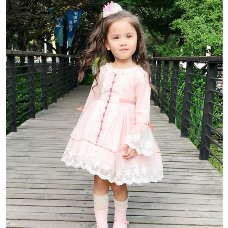 2019Autumn Spanish Lolita Girl Dress Lace Princess Sweet Dress Girl Baby Birthday Wedding Dress Girls Christmas Quality Dress
