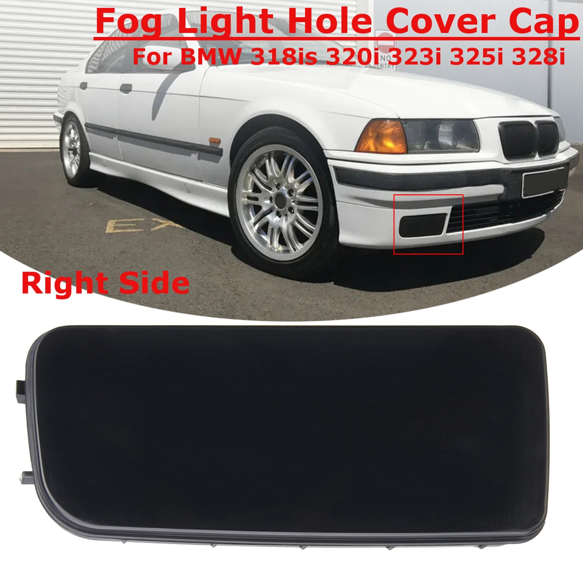 1Pc Right Fog Light Hole Mirror Cover Cap for BMW 3-Series E36 318is 320i 323i 325i 328i