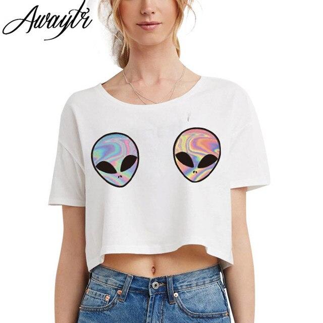2018 ET manga Tumblr Camiseta mujeres Top adolescentes cosecha camiseta Mujer corta Awaytr cómodo Casual kawaii g0Sxw