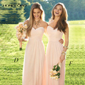 Honey Qiao Bridesmaid Dresses Mismatched Peach Chiffon Lace Sheer Neck Off the Shoulder Cheap Elegant Maid of Honor Gowns