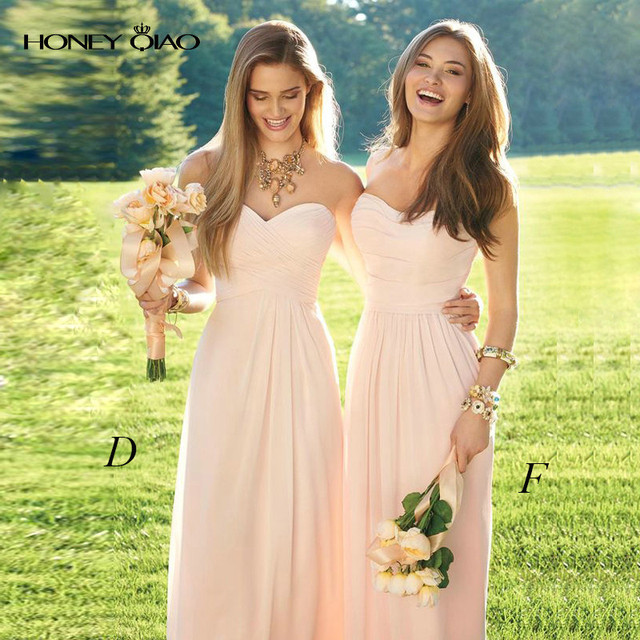 6cfed9572e8e Honey Qiao Bridesmaid Dresses Mismatched Peach Chiffon Lace Sheer Neck Off  the Shoulder Cheap Elegant Maid