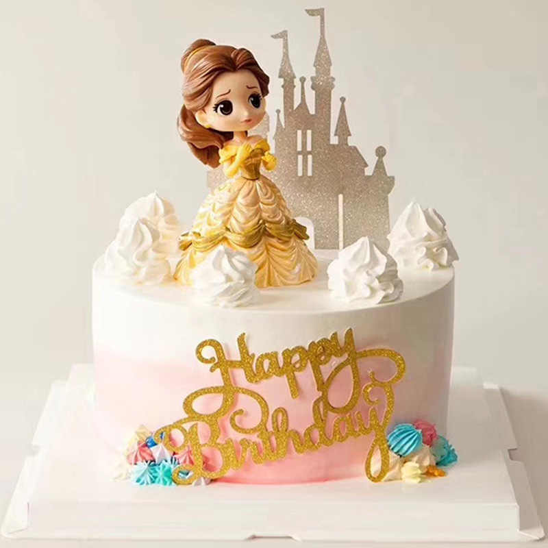 Cake Decoration Figure Snow White Princess Glitter Sliver Gold