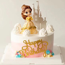 Cake Decoration Figure  Princess Glitter Sliver Gold Happy Birthday Castle Cake toppers for kids birthday Party Decor
