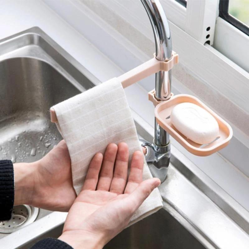 sink hanging storage rack storage holder sponge bathroom kitchen faucet clip dish cloth clip shelf drain dry towel organizer