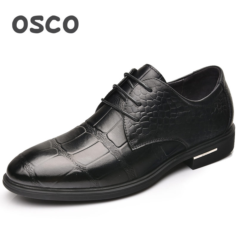 OSCO Crocodile Pattern Wedding Work Men Shoes Summer Business Dress Shoes Korean Version Of The Leather Breathable Oxford Shoes men s dress shoes crocodile pattern british work shoes men s business shoes elegant fashion shoes with suit