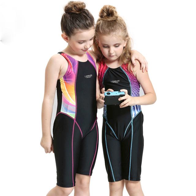 Sport One Piece Swimsuit Swimwear for Girls Children Kids