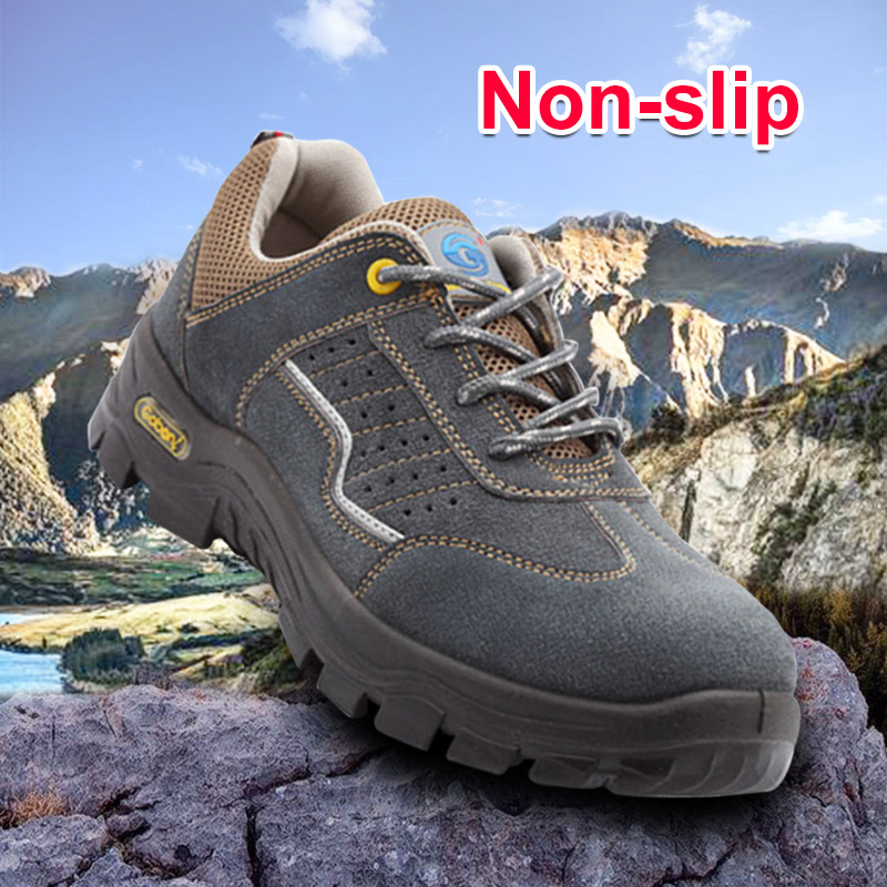 Non-slip Safety Steel Toe Shoes Men Women Breathable Outdoor Working Safety Shoes Wear-resistant lace Protective Footwear