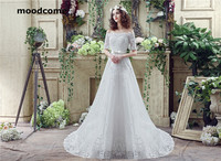 2018 Vintage A Line Wedding Dresses Lace Up Strapless Short Sleeve Sweep Train Custom Made Exquisite
