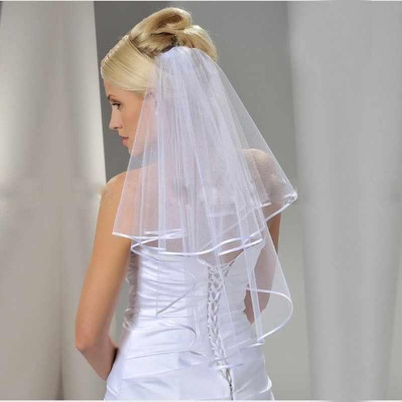 2019New Velo Da Sposa Due Strati di Nastro Bordo Corto Velo Da Sposa con Pettine Bianco 2 Strati di Velo da sposa Accessori Da Sposa