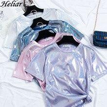 HELIAR de verano de 2019 mujeres camiseta o cuello de luz brillante tela de dama Sexy noche Club camiseta plisado cintura corto camiseta de manga