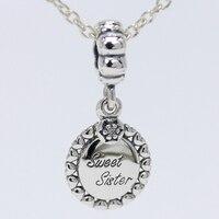 ROCKART Stałe 925 Sterling Silver Słodki Siostra Dynda Charm Pasuje Europejskich Bransolety i Bransoletki i Naszyjniki DIY Fine Jewelry