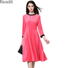 Readit Spring 2018 Elegant Pink Velvet Dress Vintage Work Business A-line  Knee Length 6236da59729f