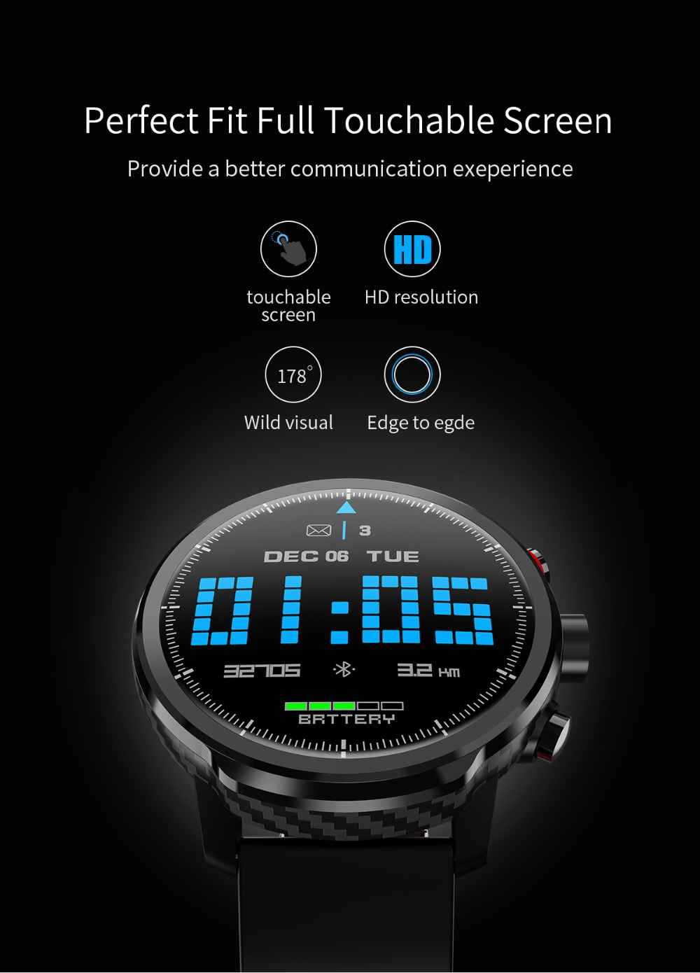 LEMFO L5 IP68 Waterproof Smart Watch For Men With Sports Mode Heart Rate Monitoring And Weather Forecast 4